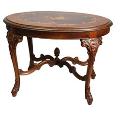 Antique French Style Mahogany and Kingwood Marquetry Inlaid Low Side Table