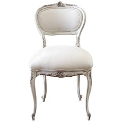 Antique French Style Vanity Chair Painted and Upholstered in Belgian Linen