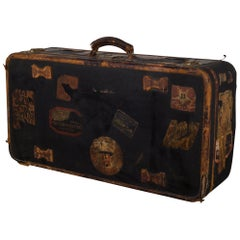 Antique French Suitcase with Original Travel Stickers, circa 1900-1930