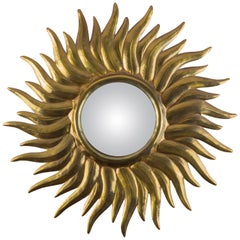 Antique French Sunburst Wall Mirror with Convex Mirror Glass, Late 19th Century