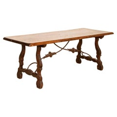 Antique French Table with Scrolled Iron Base