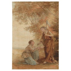 Antique French Tapestry. Size: 1 ft 5 in x 2 ft 1 in (0.43 m x 0.63 m)