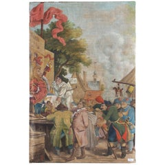 Antique French Tapestry Style Painting 'Signed', circa 1900