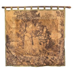 Antique French Tapestry with Gold Binding on Fluted Wood Rod Hanger