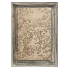 Antique French Tapestry with Whitewashed Frame