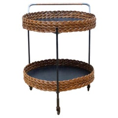 Antique French Tea Trolley in Iron and Rattan, circa 1960