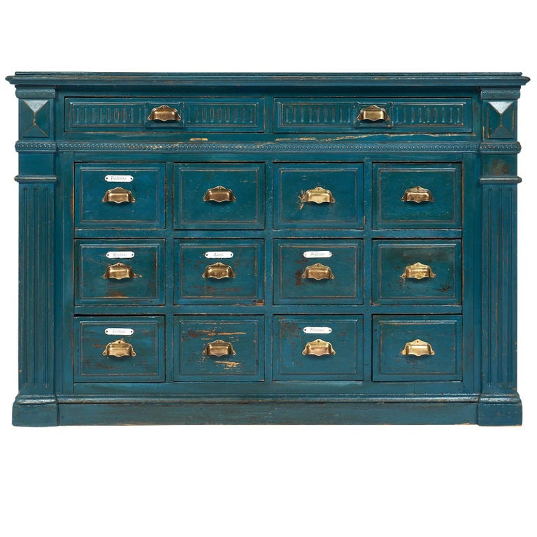 Apothecary Furniture For Sale: Antique French Teal Apothecary Cabinet At 1stdibs