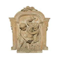 Antique French Terracotta Fountain Back, circa 1860
