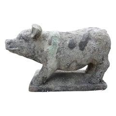Antique French Terra-Cotta Pig Statue