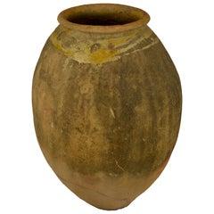 Antique French Terracotta Storage Jar with Yellow Glazed Rim from Biot