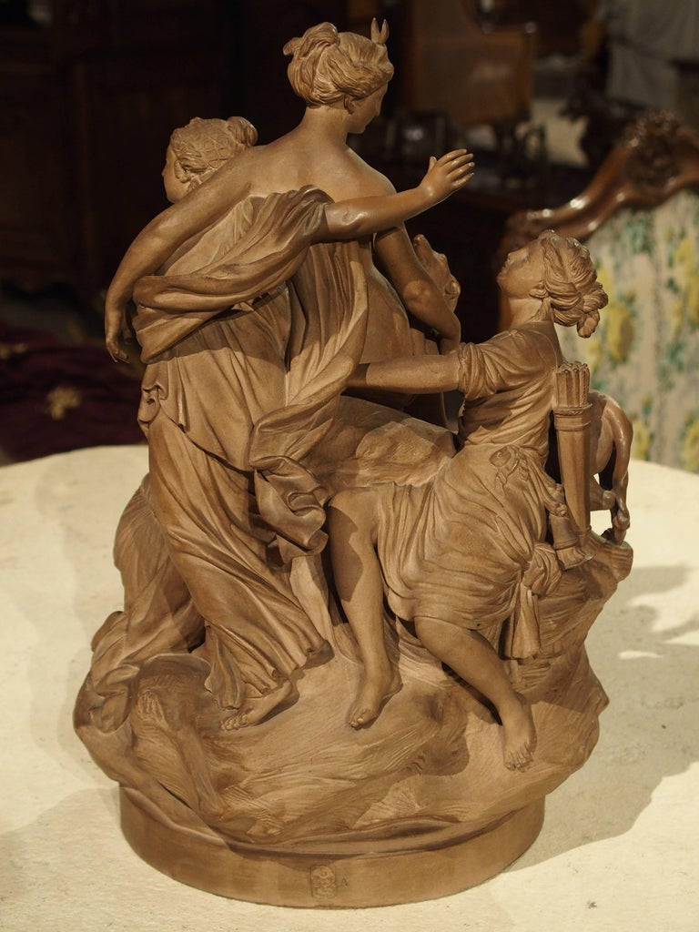 Antique French Terracotta Statue of the Goddess Diana For Sale 8