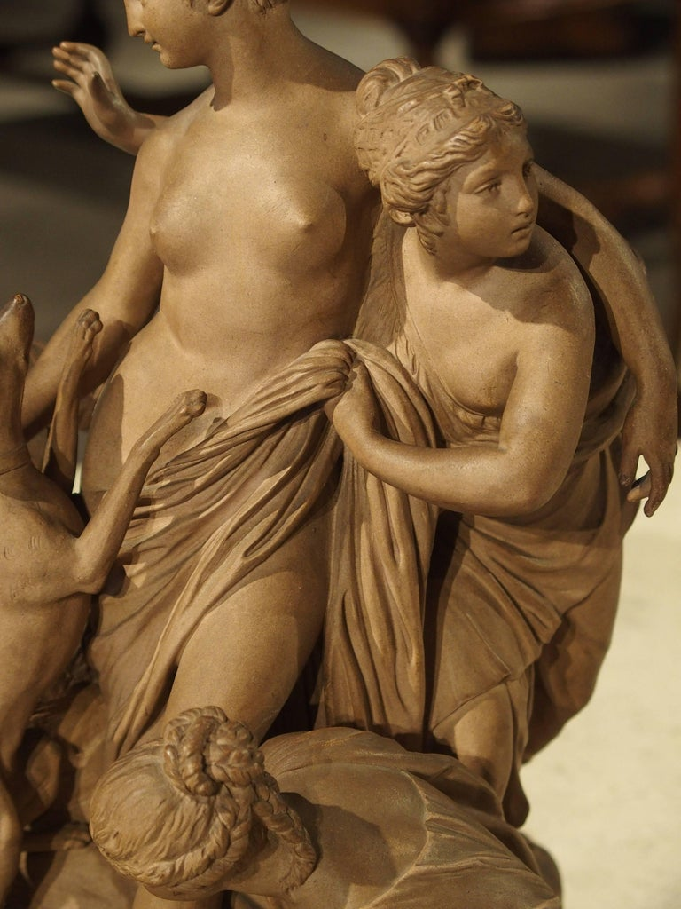 Antique French Terracotta Statue of the Goddess Diana For Sale 4