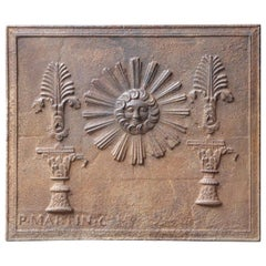 Antique French 'The Sun' Fireback, 19th Century
