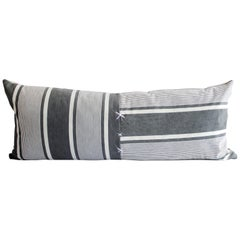 Antique French Ticking Stripe Lumbar Pillow Faded Black and White