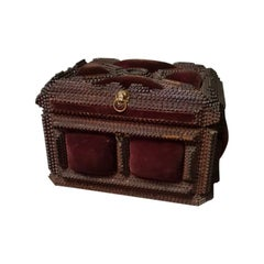 Antique French Tramp Art Bijoux Box with Key, from circa 1900