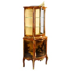 Antique French Transitional Vernis Martin Vitrine Display Cabinet, 19th Century
