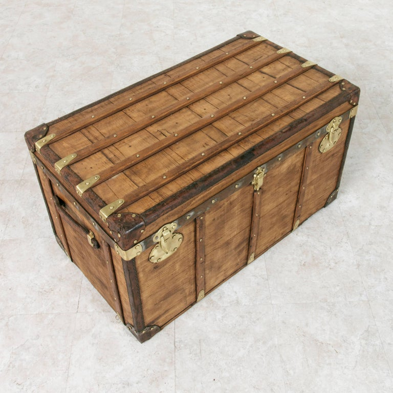 Antique French Traveling Steam Trunk of Wood, Brass, Leather and Iron In Good Condition For Sale In Fayetteville, AR