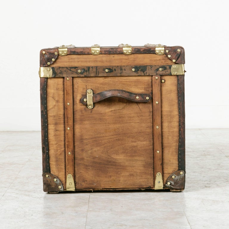 20th Century Antique French Traveling Steam Trunk of Wood, Brass, Leather and Iron For Sale