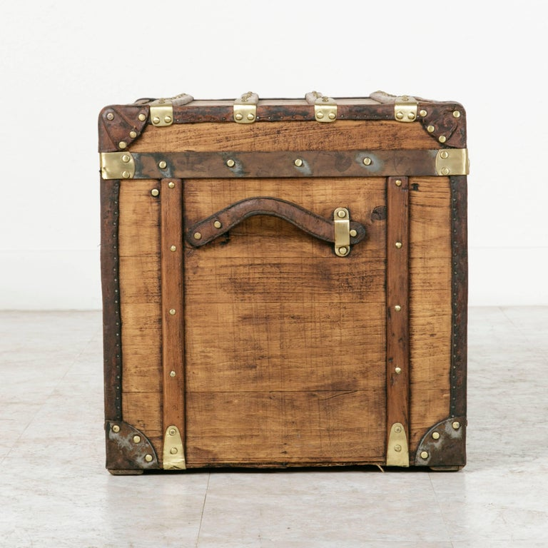 Beech Antique French Traveling Steam Trunk of Wood, Brass, Leather and Iron For Sale