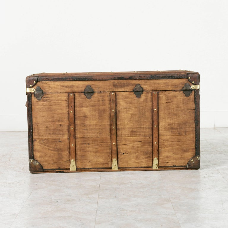 Antique French Traveling Steam Trunk of Wood, Brass, Leather and Iron For Sale 1
