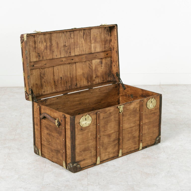 Antique French Traveling Steam Trunk of Wood, Brass, Leather and Iron For Sale 2