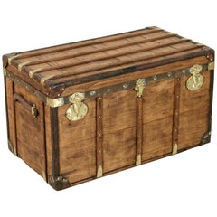 Antique French Traveling Steam Trunk of Wood, Brass, Leather and Iron