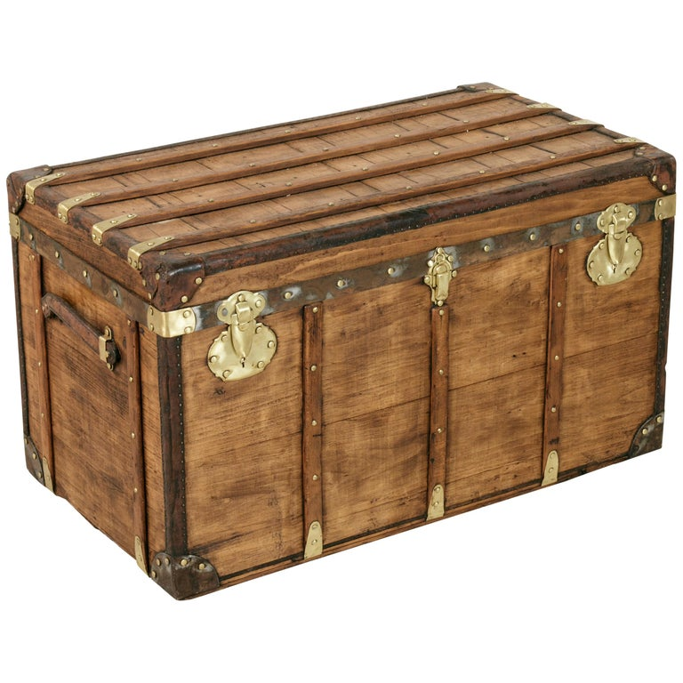 Antique French Traveling Steam Trunk of Wood, Brass, Leather and Iron For Sale