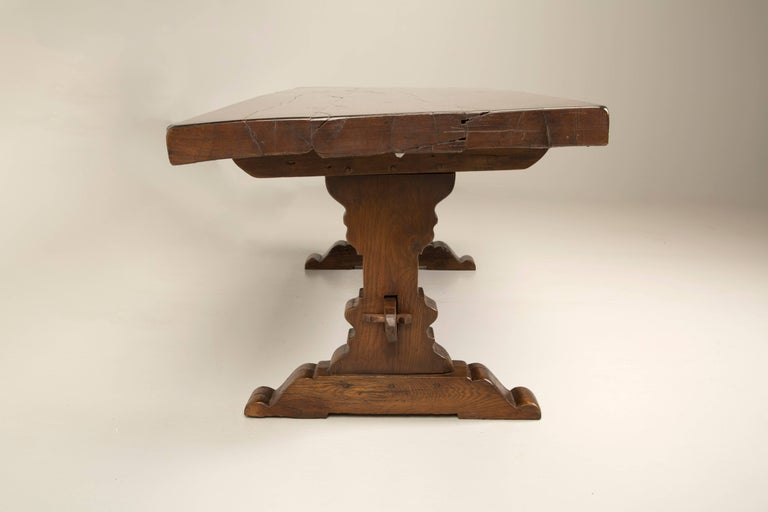 Country Antique French Trestle Dining Table, circa 1800 For Sale