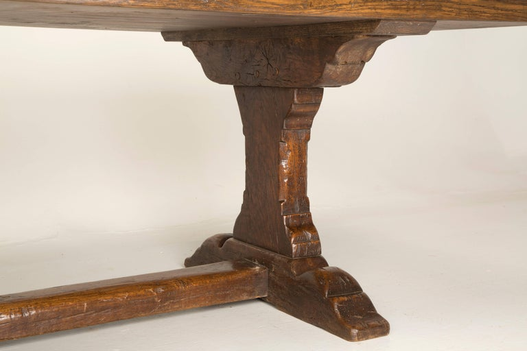 Antique French Trestle Dining Table, circa 1800s In Distressed Condition For Sale In Chicago, IL