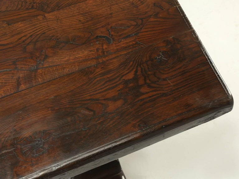 Oak Antique French Trestle Dining Table, circa 1800s