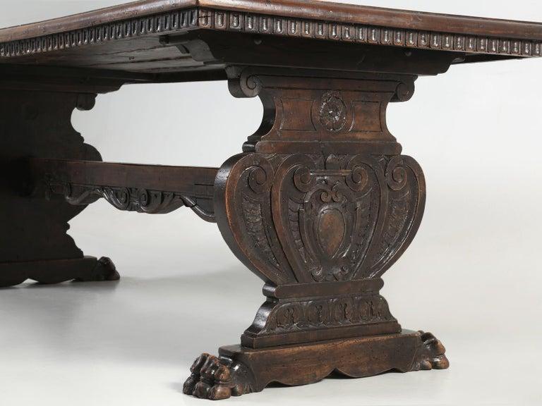 Antique French Trestle Dining Table with a Fleur-de-Lys Design Motif For Sale 5