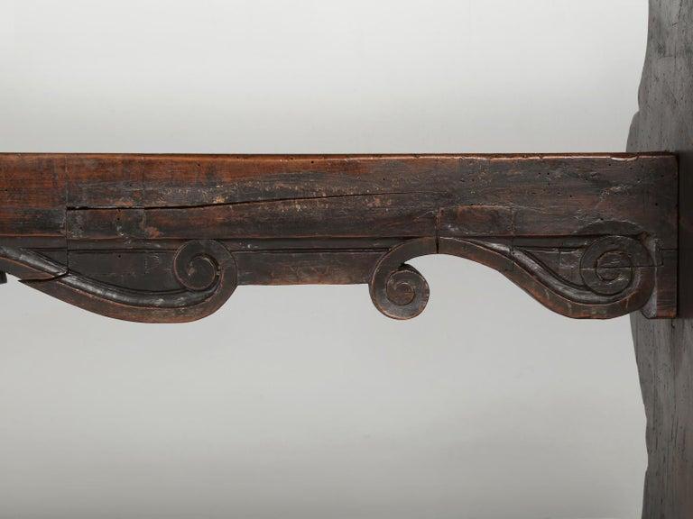 Antique French Trestle Dining Table with a Fleur-de-Lys Design Motif For Sale 9