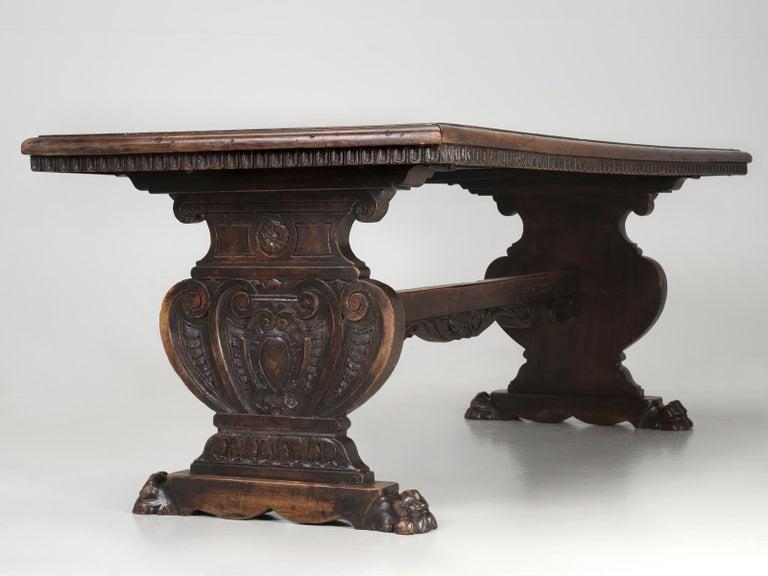Antique French Trestle Dining Table with a Fleur-de-Lys Design Motif For Sale 12