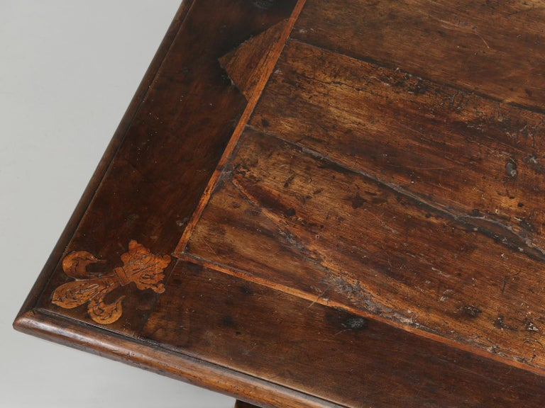 Country Antique French Trestle Dining Table with a Fleur-de-Lys Design Motif For Sale