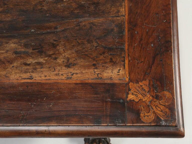 Walnut Antique French Trestle Dining Table with a Fleur-de-Lys Design Motif For Sale