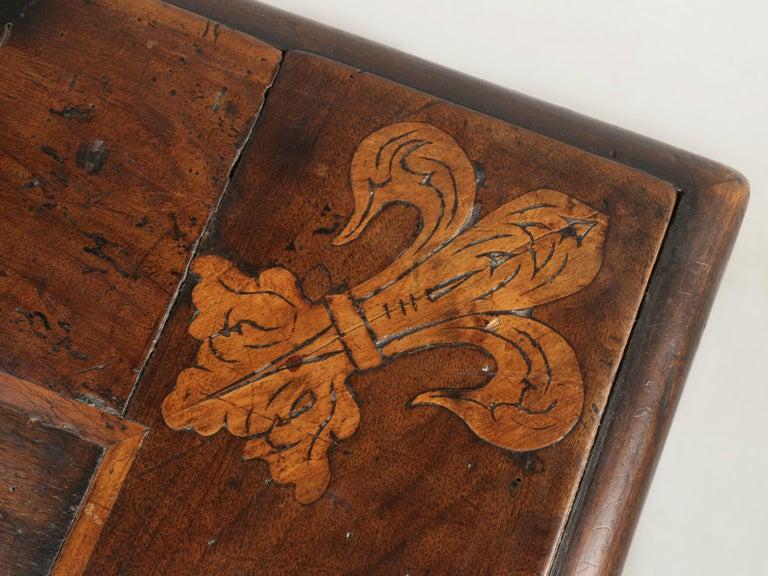 Antique French Trestle Dining Table with a Fleur-de-Lys Design Motif For Sale 1