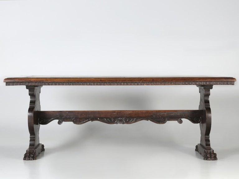 Antique French Trestle Dining Table with a Fleur-de-Lys Design Motif For Sale 2