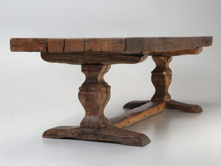Antique French Trestle Table, circa 300 Years Old For Sale 8