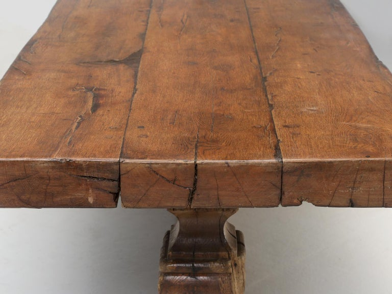 Oak Antique French Trestle Table, circa 300 Years Old For Sale