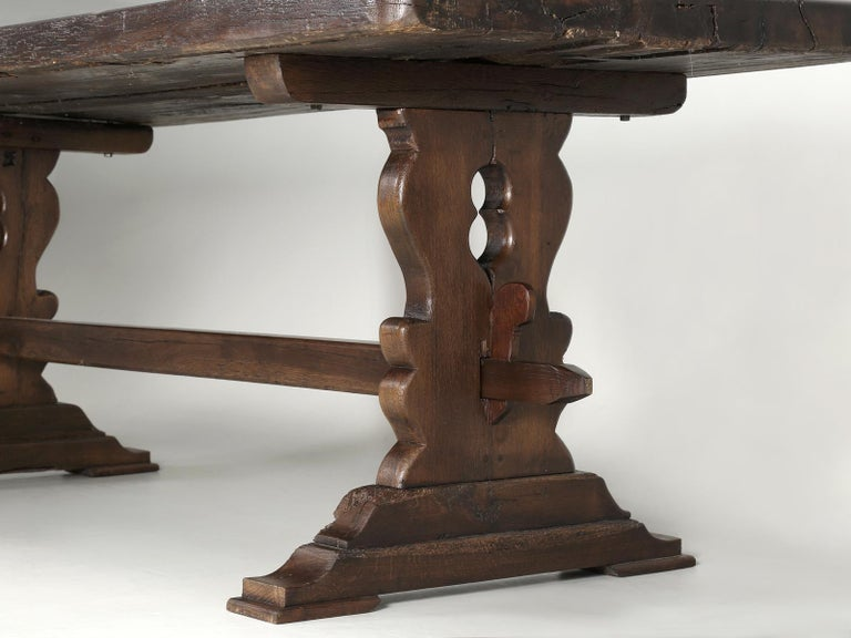 Antique French Trestle Table with 3-Board Top in White Oak circa 1800s  For Sale 4
