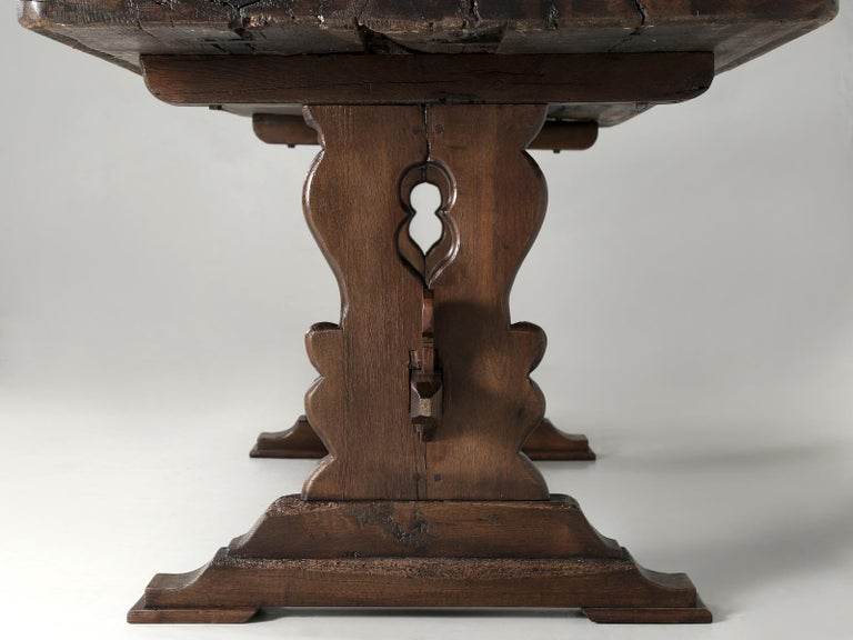 Antique French Trestle Table with 3-Board Top in White Oak circa 1800s  For Sale 5
