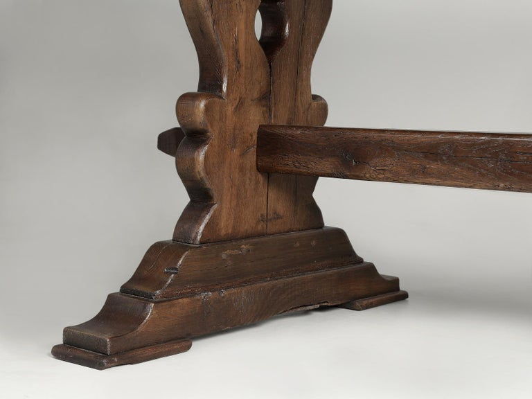 Antique French Trestle Table with 3-Board Top in White Oak circa 1800s  For Sale 10