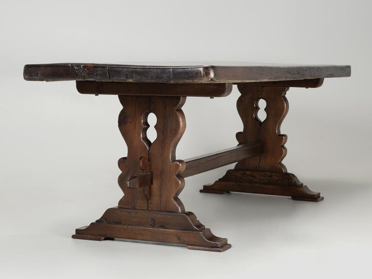 Antique French Trestle Table with 3-Board Top in White Oak circa 1800s  For Sale 11