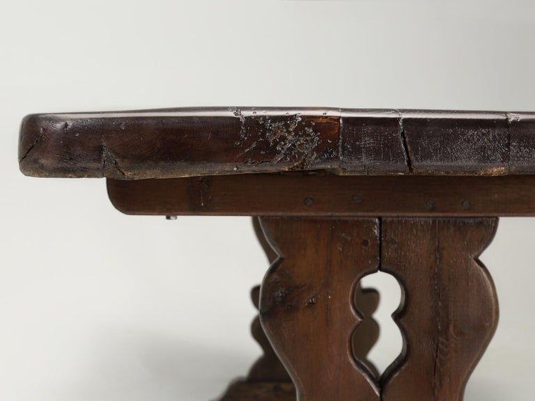 Antique French Trestle Table with 3-Board Top in White Oak circa 1800s  For Sale 12