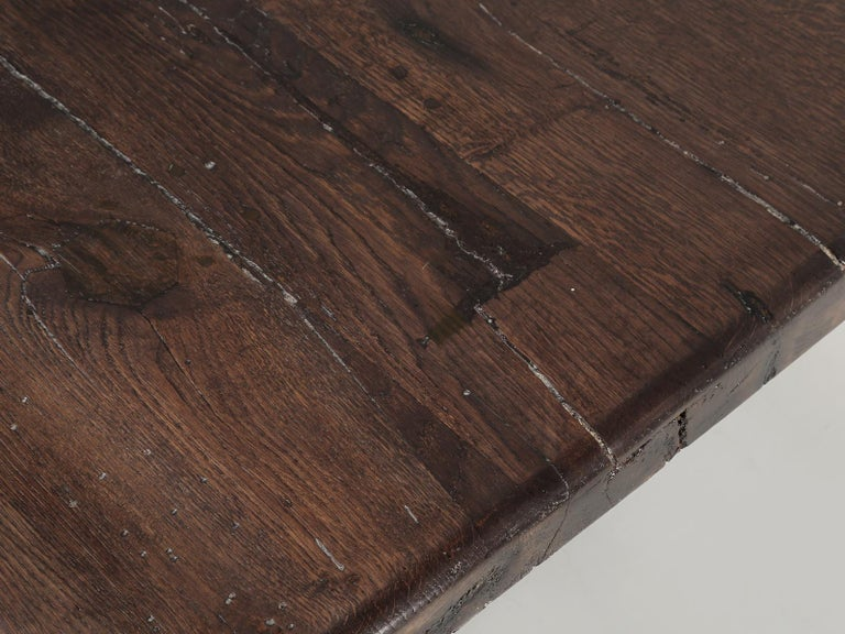 Antique French Trestle Table with 3-Board Top in White Oak circa 1800s  For Sale 1