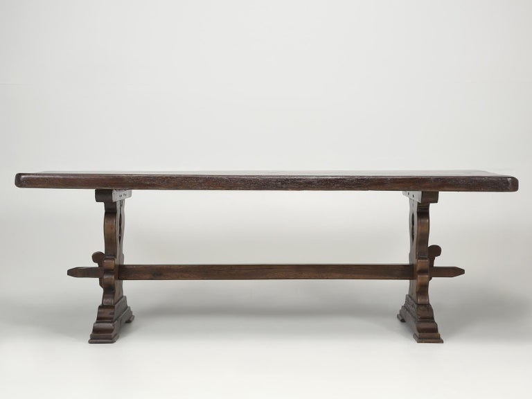 Antique French Trestle Table with 3-Board Top in White Oak circa 1800s  For Sale 3