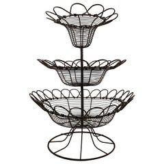 Antique French Triple Tier Handmade Twisted Black Wire Kitchen or Flower Basket