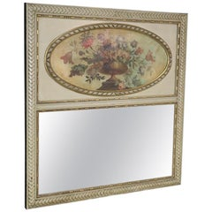 Large Floral Urn Painted Antique French Trumeau Over Mantle Mirror C1850