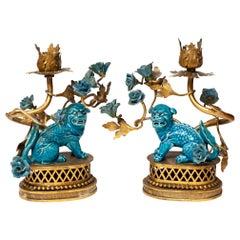 Antique French Turquoise Blue Glazed Foo Fu Dog Candlesticks or Lamp Bases