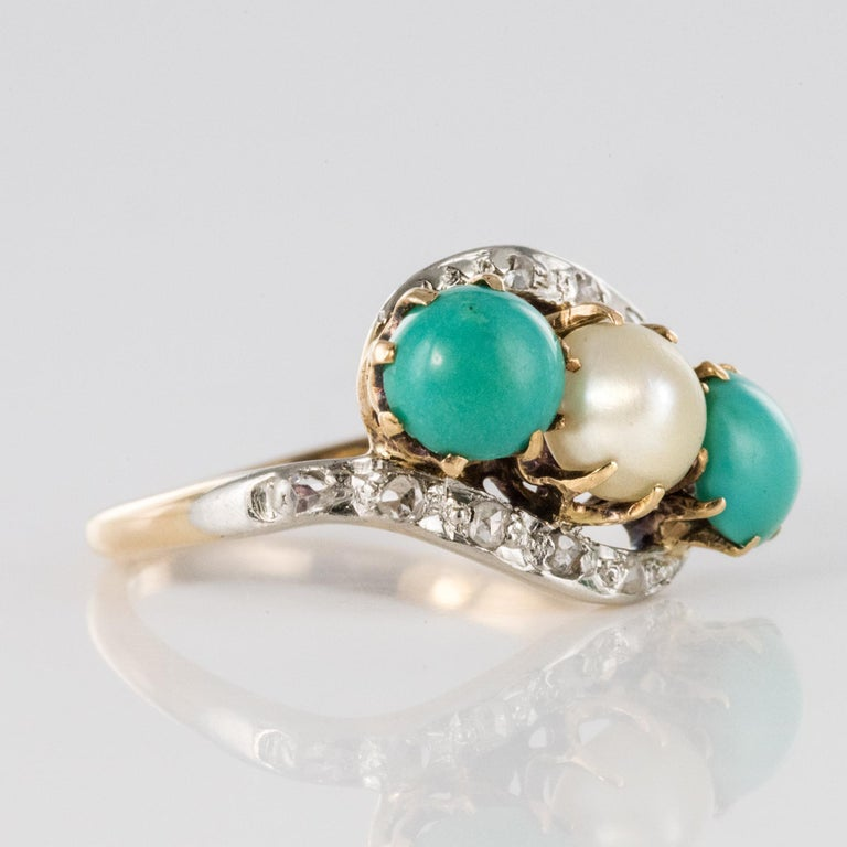 Antique French Turquoise Natural Pearl Diamond Gold Ring For Sale 5